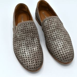 Trask Ali leather slip on pewter shoes perforated